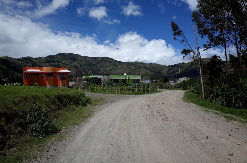 De stad van Sigchos in de Ecuatoriaanse Andes royalty-vrije stock foto