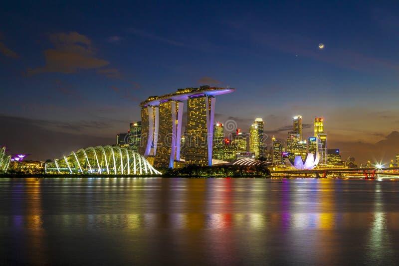 DE STAD VAN SINGAPORE, SINGAPORE: 15,2018 augustus: De Horizon van Singapore Singa stock afbeeldingen