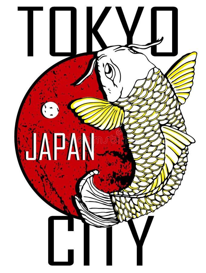 De Stad van Tokyo en het Gouden Ontwerp van de Vissenaffiche royalty-vrije illustratie