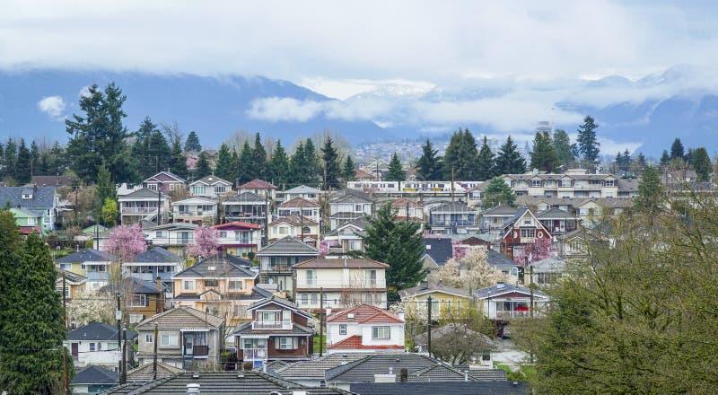 De stad van Vancouver - luchtmening - VANCOUVER - CANADA - APRIL 12, 2017 royalty-vrije stock foto's