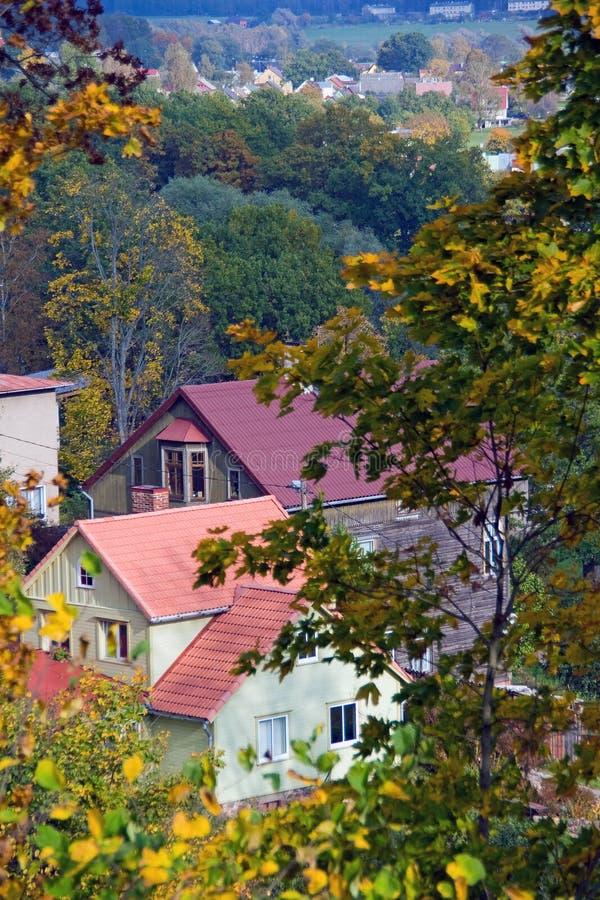 De Stad van Viljandi, Estland stock fotografie