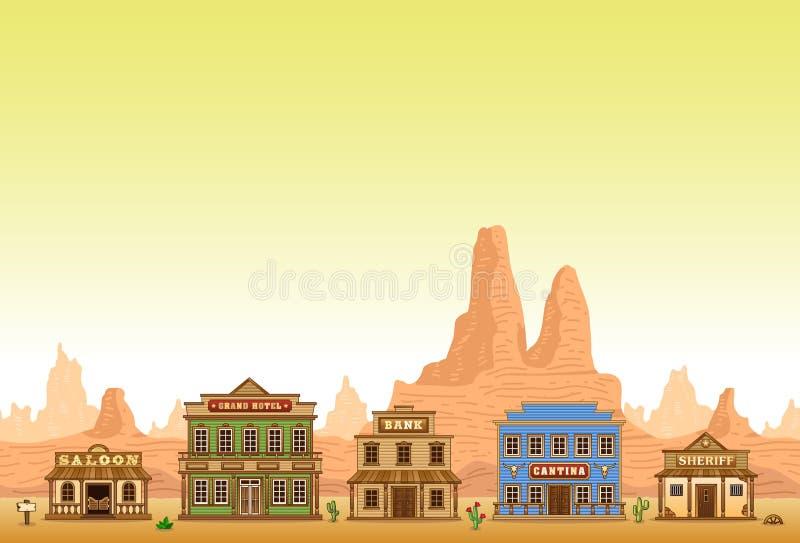De stad van Wilde Westennen royalty-vrije illustratie