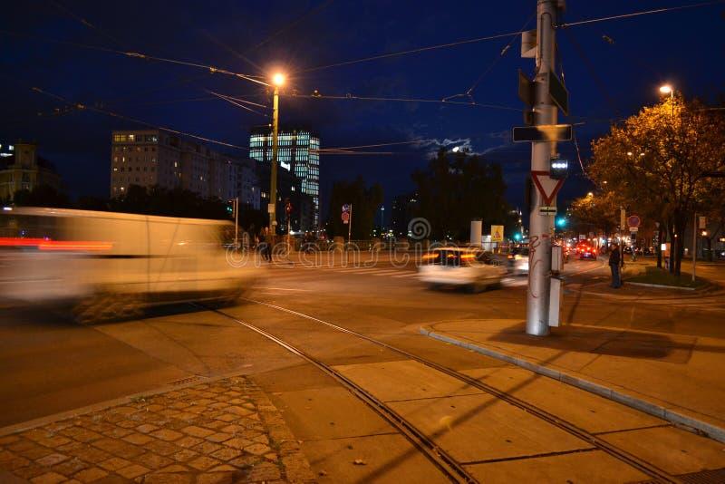 De Stad Wenen van de nacht stock afbeelding