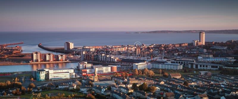 De stad Zuid-Wales van Swansea stock afbeelding