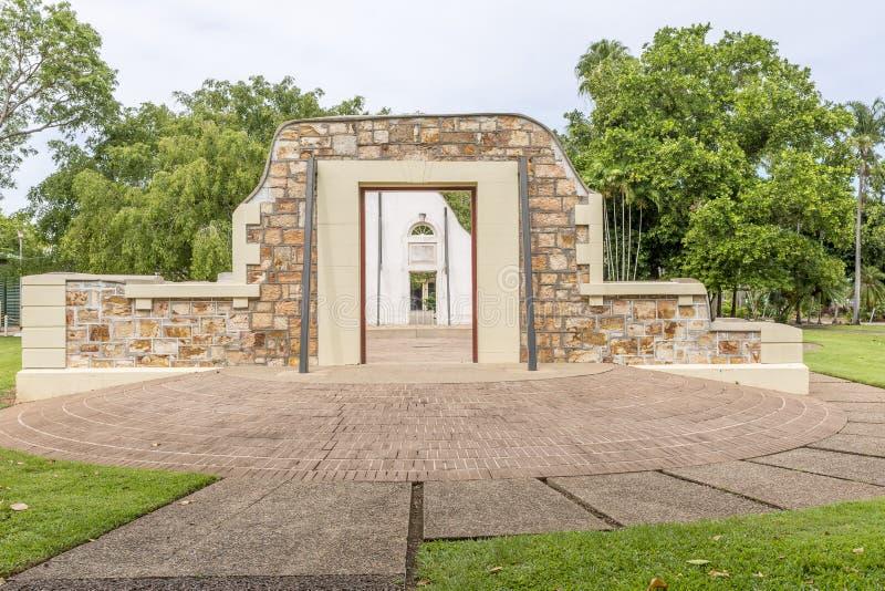 De Stadhuisruïnes van Darwin, Australië, op een zonnige dag stock afbeelding