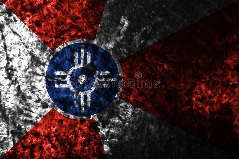 De stads grunge vlag van Wichita, de Staat van Kansas, de Verenigde Staten van Amerika vector illustratie