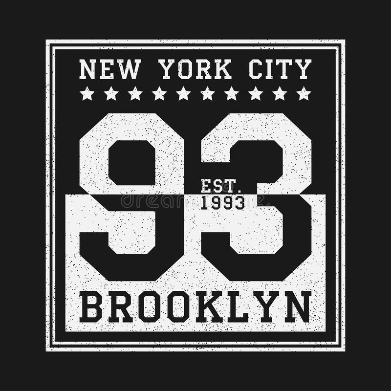 De Stads originele typografie van New York voor t-shirt De druk van Brooklyn grunge voor kleding Ontwerp van zwart-witte aantalkl royalty-vrije illustratie