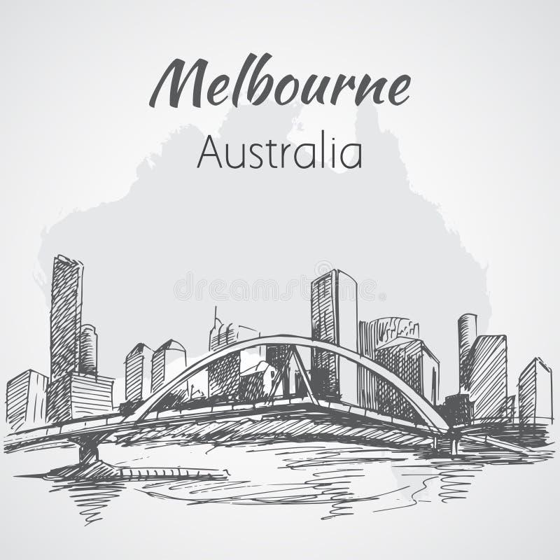 De stads scape schets van Melbourne - Australië