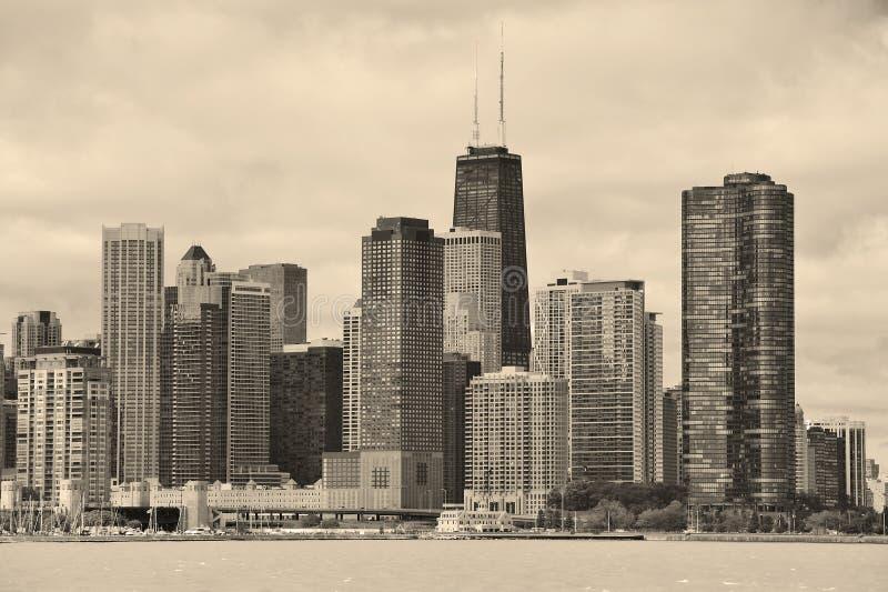 De stads stedelijke horizon van Chicago stock afbeelding