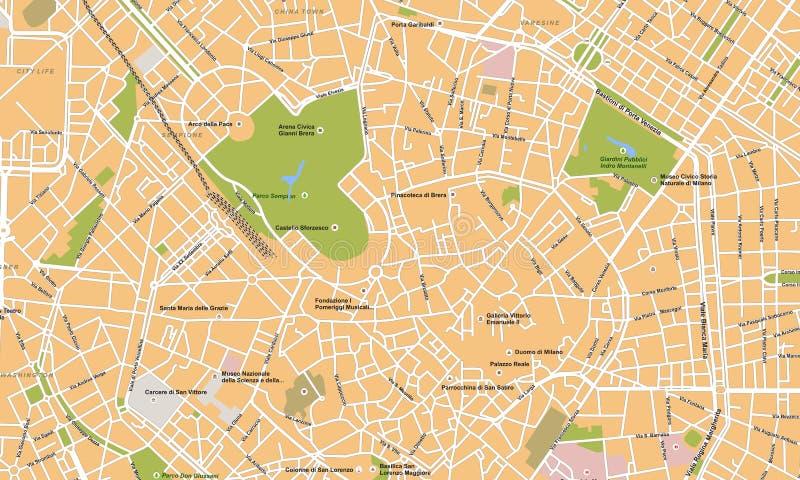 De stads vectorkaart van Milaan royalty-vrije illustratie