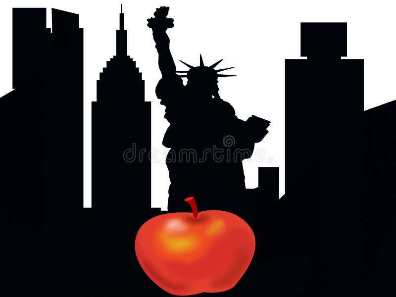 De stads wuith grote appel van silhouetnew york stock illustratie