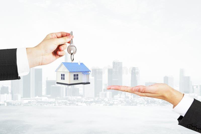 De stadsachtergrond van het hypotheekconcept royalty-vrije stock foto