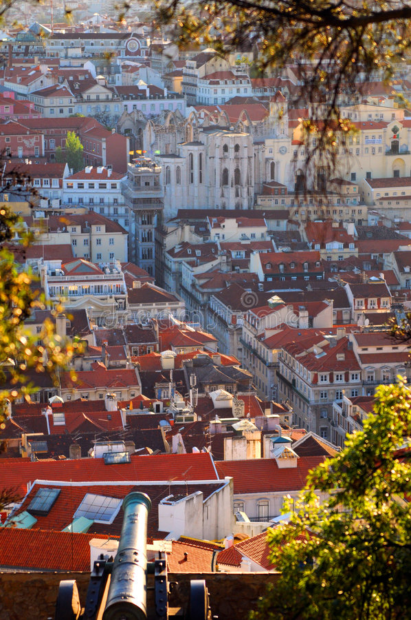De stadsantenne van Lissabon royalty-vrije stock afbeelding