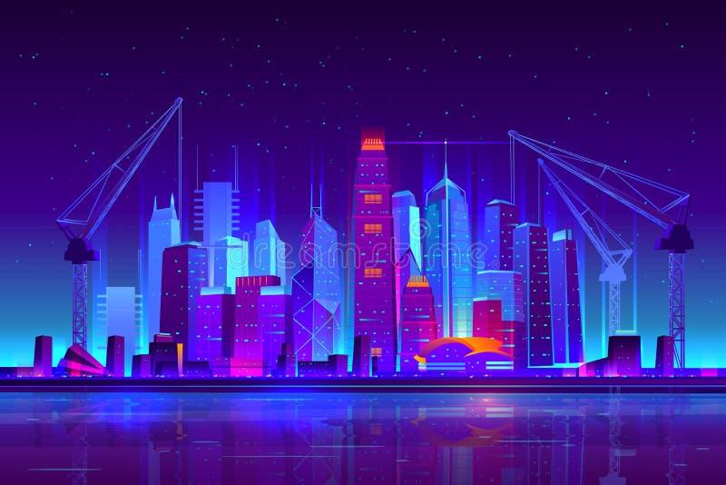 De de stadsbouw van het nachtneon met bouwkranen stock illustratie