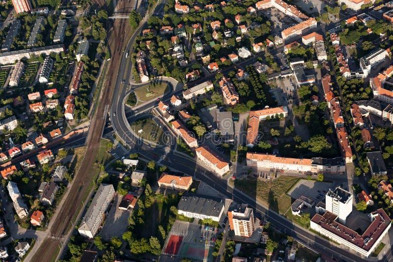De stadscentrum van Klaipeda van hierboven royalty-vrije stock afbeelding