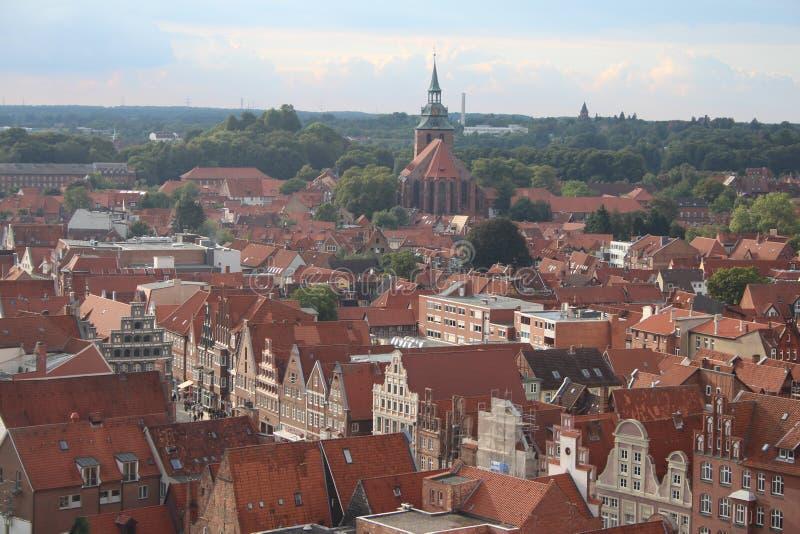 De Stadscentrum van Lüneburg van bovengenoemd - Duitsland stock afbeeldingen