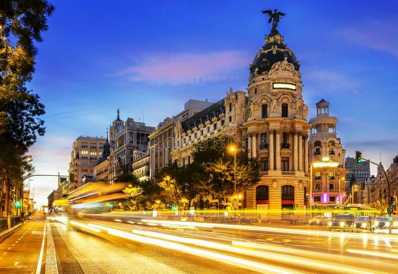 De stadscentrum van Madrid, Gran Vis Spain stock foto
