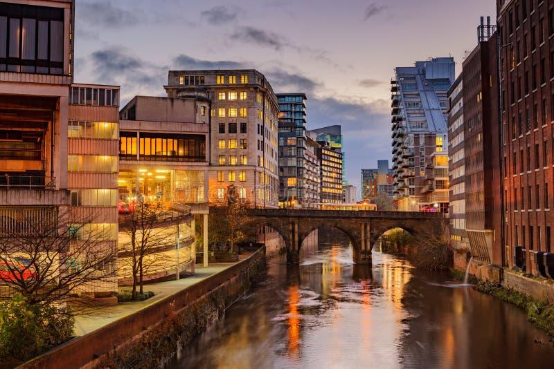 De stadscentrum van Manchester, het UK stock fotografie