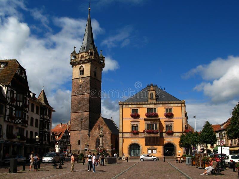 De stadscentrum van Obernai, de Elzas, Frankrijk stock foto
