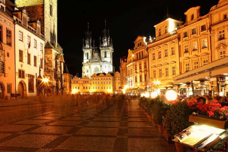 De stadscentrum van Praag bij nacht. royalty-vrije stock afbeeldingen