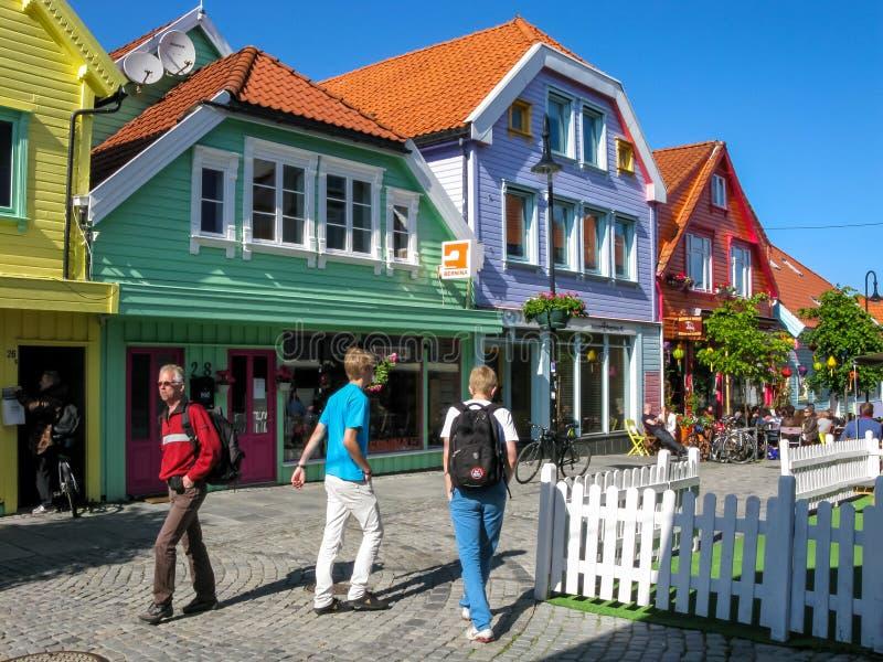 De stadscentrum van Stavanger in Noorwegen stock afbeelding