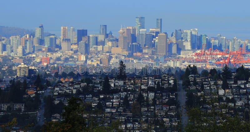 De stadscentrum van Vancouver van Burnaby, Canada wordt gezien dat stock afbeelding