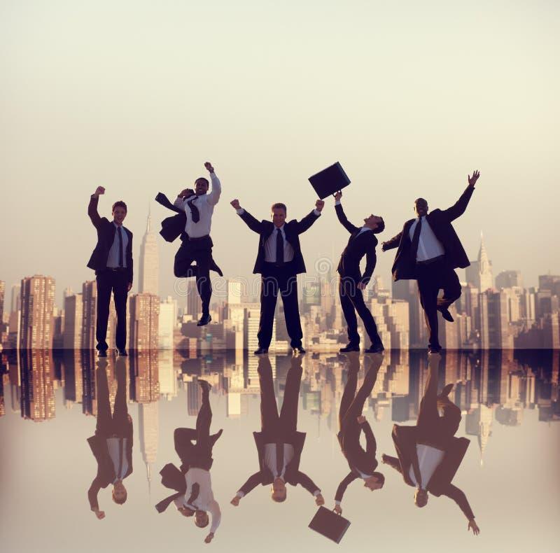 De Stadsconcepten van het bedrijfsmensen Collectieve Succes stock afbeeldingen