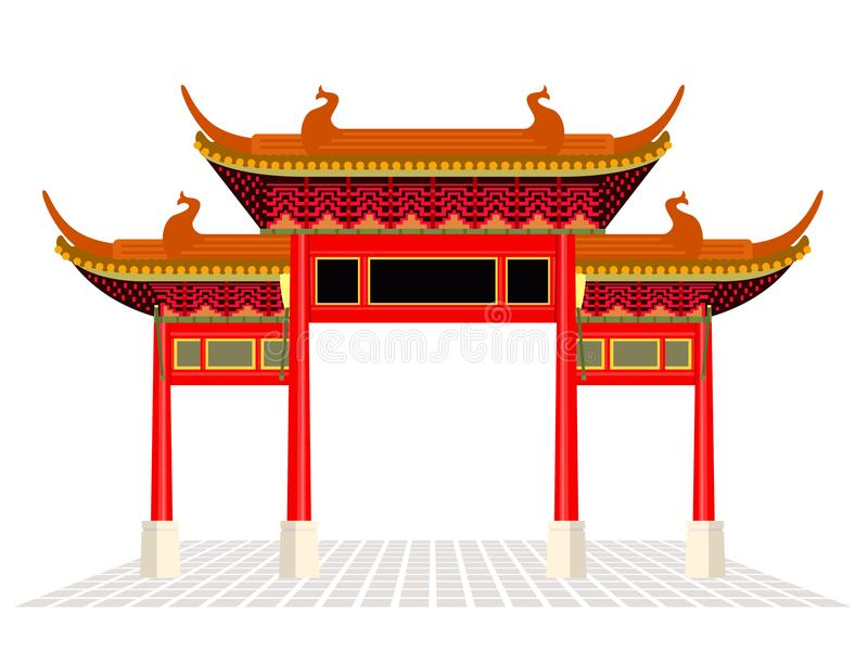 De de de stadsdeur en vloer van China isoleren op witte achtergrond vectorontwerp