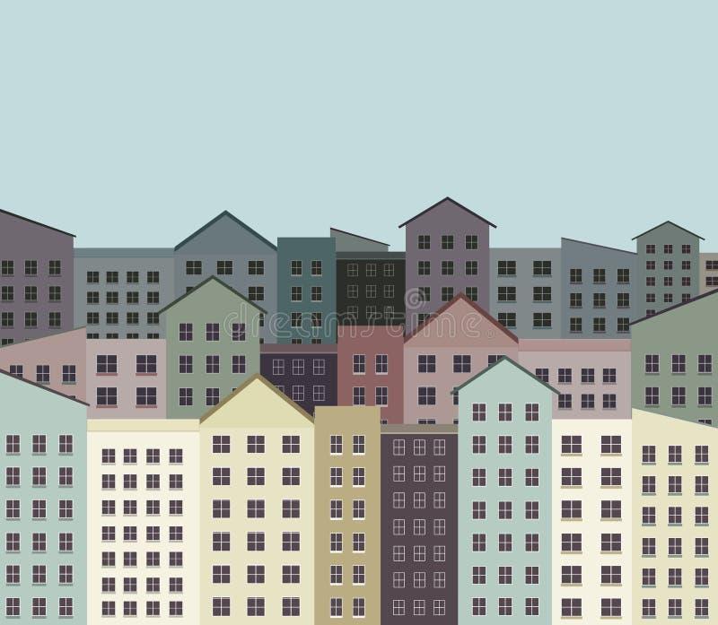 De stadsgebouwen, flats in een buurt worden van de binnenstad gezien in een illustratie Dit is een illustratie royalty-vrije illustratie