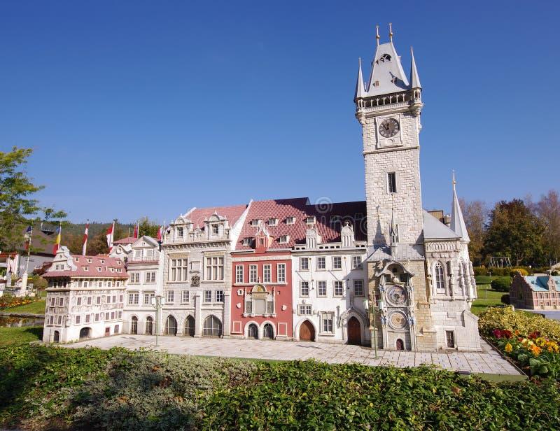 De stadsgebouwen van Praag in miniatuur stock foto