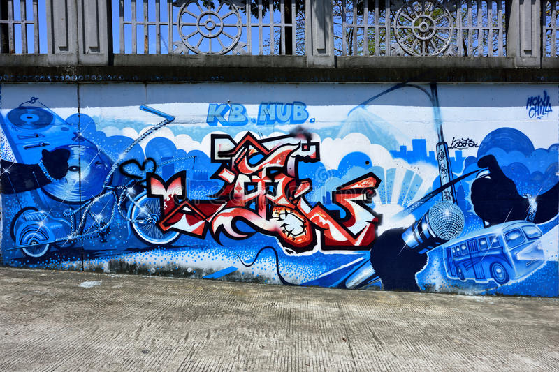 De stadsgraffiti op de cementmuur royalty-vrije stock foto's