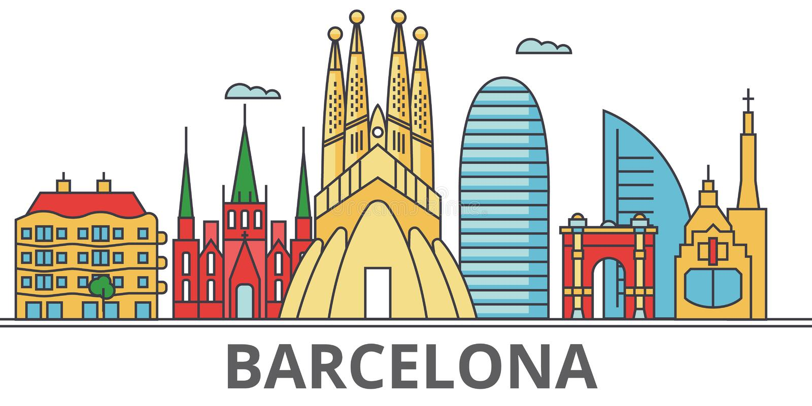 De stadshorizon van Barcelona vector illustratie