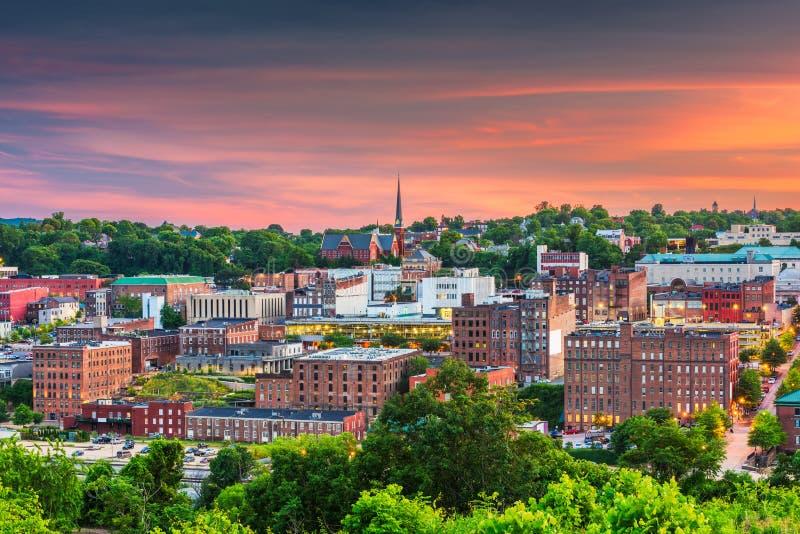 De de stadshorizon van de binnenstad van Lynchburg, Virginia, de V.S. stock foto