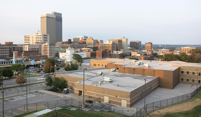 De Stadshorizon van de binnenstad Omaha Nebraska Midwest Urban Landscape stock foto's