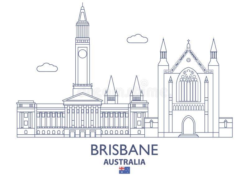De Stadshorizon van Brisbane, Australië stock illustratie