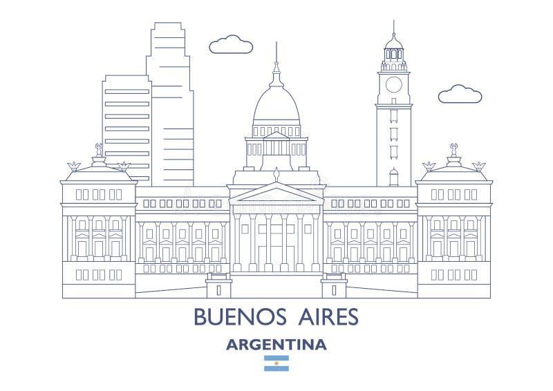 De Stadshorizon van Buenos aires, Argentinië vector illustratie