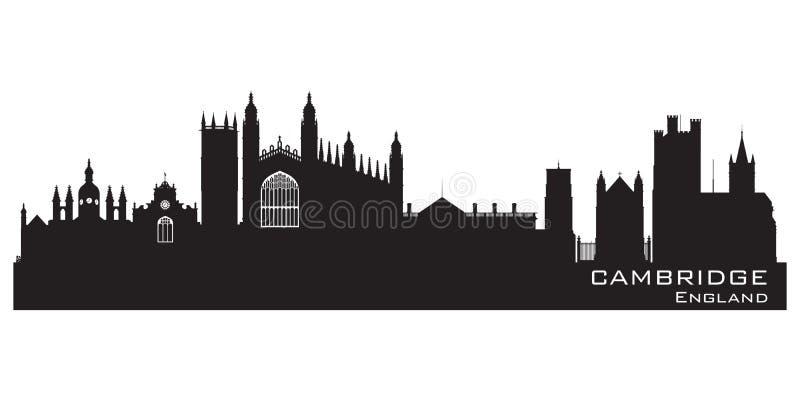 De de stadshorizon van Cambridge Engeland detailleerde silhouet royalty-vrije illustratie
