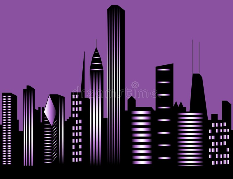 De stadshorizon van Chicago stock illustratie