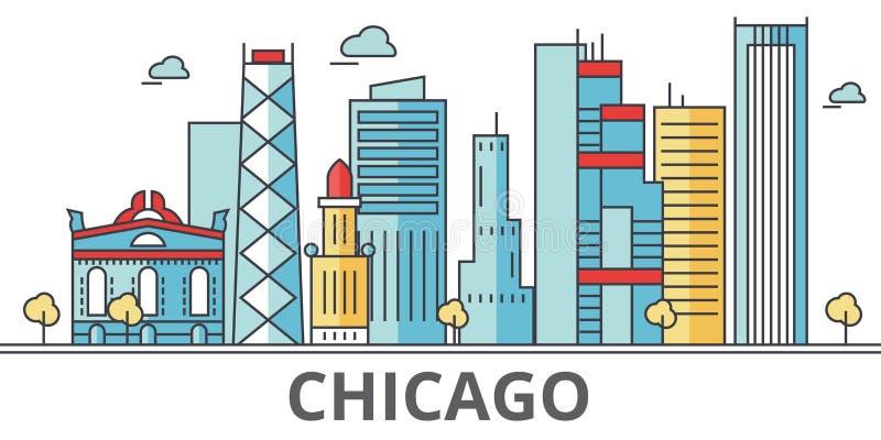 De stadshorizon van Chicago royalty-vrije illustratie