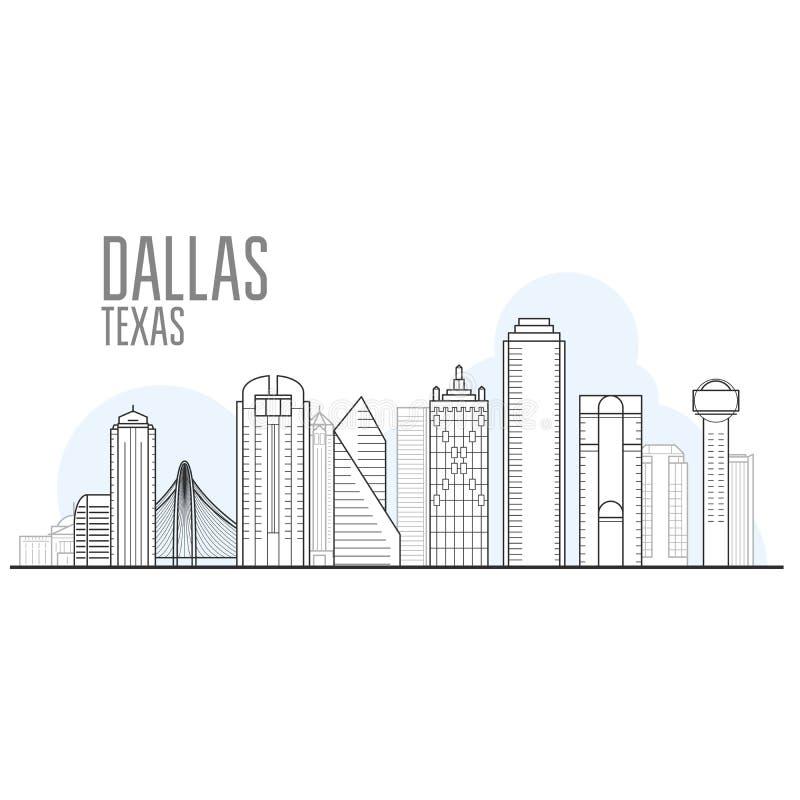 De stadshorizon van Dallas - cityscape van Dallas, Texas royalty-vrije illustratie
