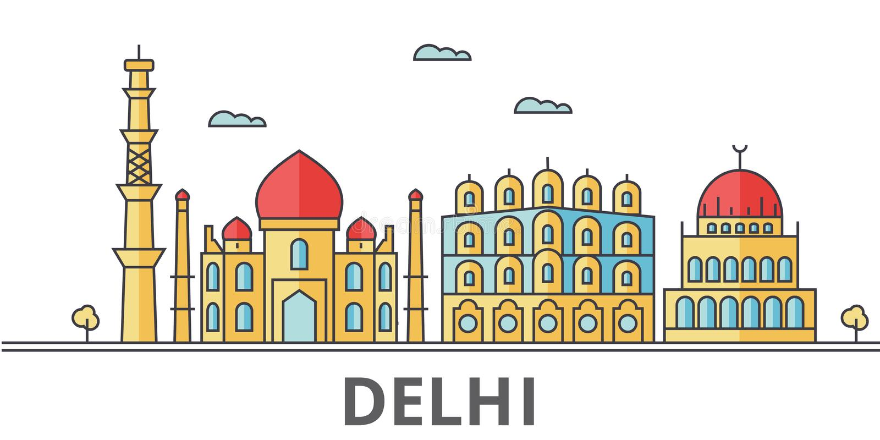 De stadshorizon van Delhi vector illustratie