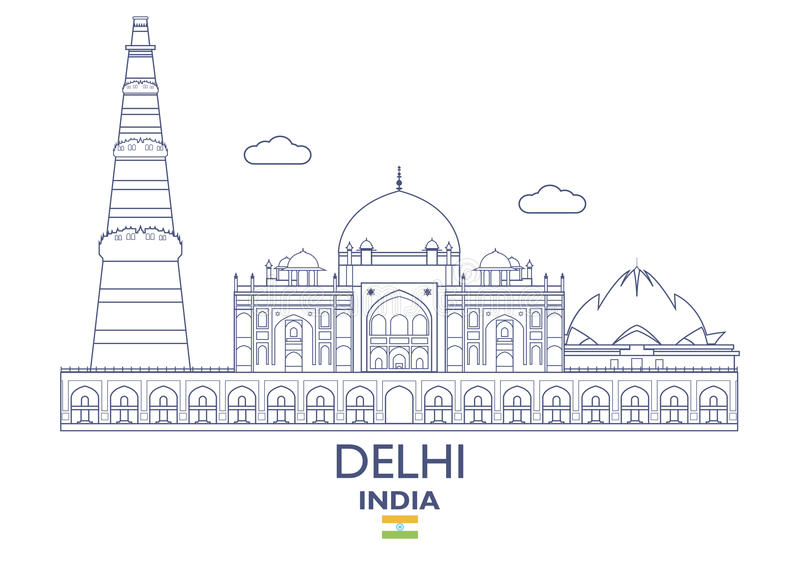 De Stadshorizon van Delhi, India stock illustratie