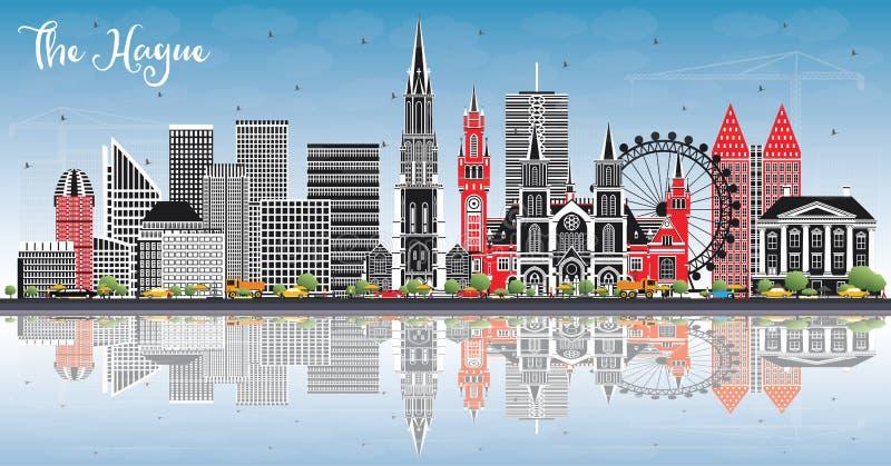 De Stadshorizon van Den Haag Nederland met Kleurengebouwen, Blauwe Hemel en Bezinningen royalty-vrije illustratie