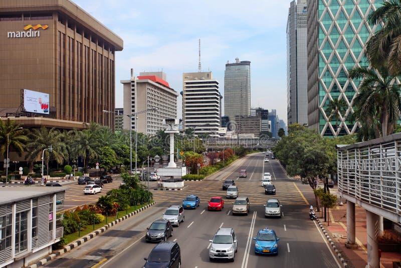 De Stadshorizon van Djakarta stock afbeelding