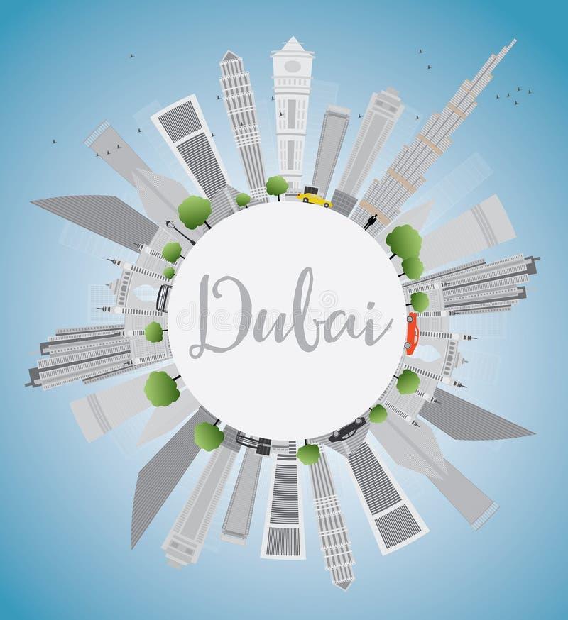 De Stadshorizon van Doubai met Gray Skyscrapers, Blauw Hemel en Exemplaar Spac stock illustratie