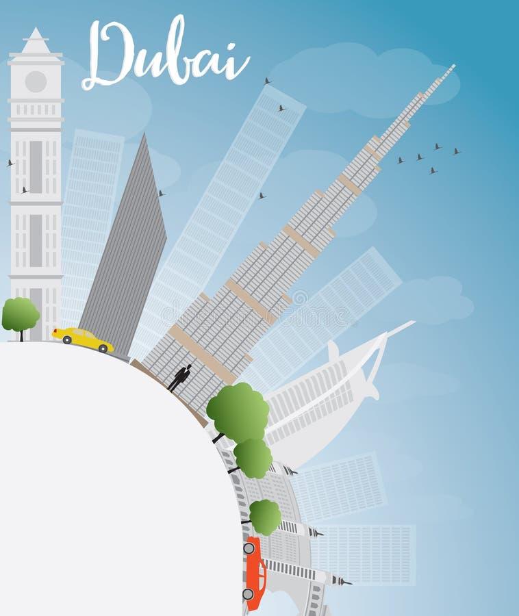 De Stadshorizon van Doubai met grijze wolkenkrabbers, blauw hemel en exemplaar spac royalty-vrije illustratie