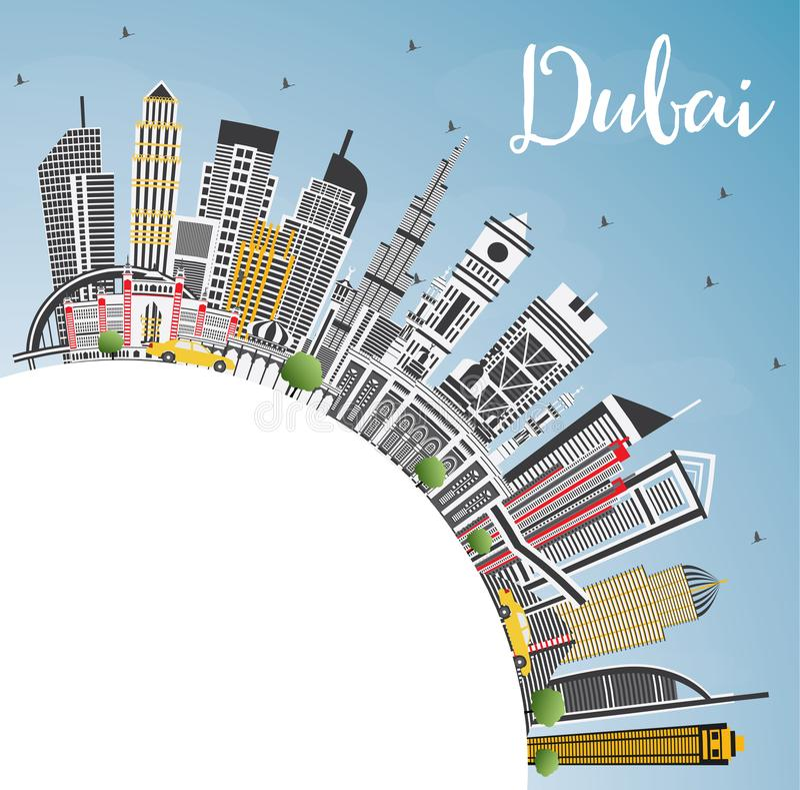 De Stadshorizon van Doubai de V.A.E met Gray Buildings, Blauw Hemel en Exemplaar SP royalty-vrije illustratie