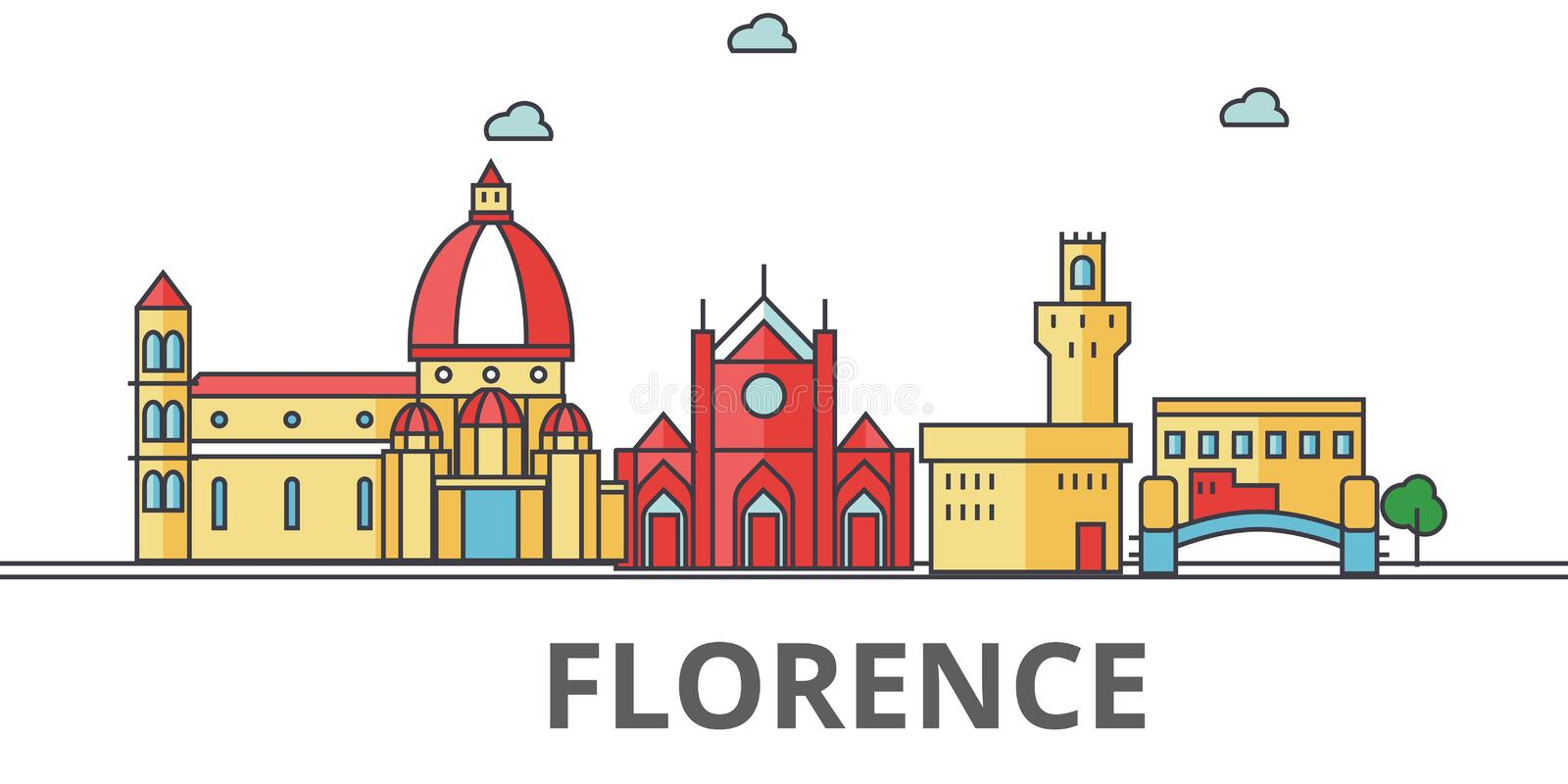 De stadshorizon van Florence stock illustratie