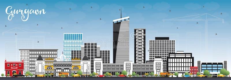 De Stadshorizon van Gurgaonindia met Gray Buildings en Blauwe Hemel royalty-vrije illustratie