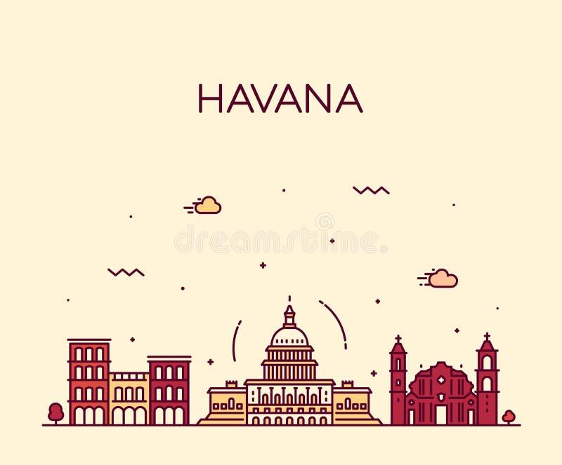 De stadshorizon van Havana, vector lineaire de stijlstad van Cuba stock illustratie
